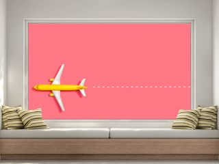 Toy miniature airplane overhead view flat lay