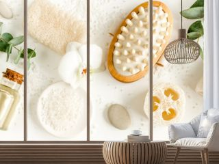 Spa concept with eucalyptus oil and eucalyptus leaf extract natural /organic spa cosmetics products, eco friendly bathroom accessories. Skincare concept on white background. Flat lay composition