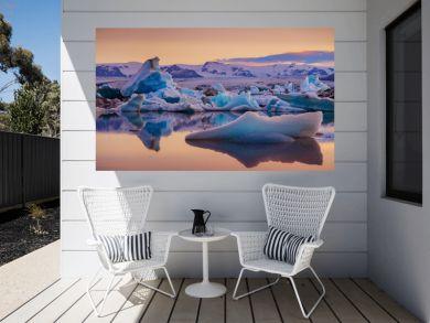 Icebergs in Jokulsarlon glacier lagoon. Vatnajokull National Park, Iceland Summer.Midnight Sun.