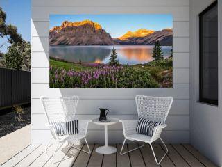Panorama of sunrise at Bow Lake, Banff National Park