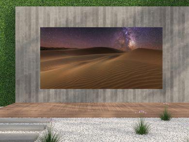 Amazing views of the Sahara desert under the night starry sky.