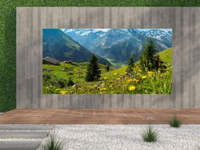 Swiss Summer Mountain and Flowers Landscape