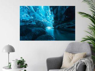 Big ice cave a at Vatnajokull glacier, Iceland