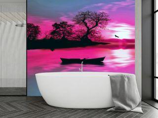 illustration of beautiful colorful sundown landscape