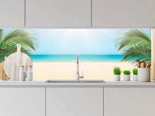Sunny tropical beach panorama, turquoise Caribbean sea with palm trees