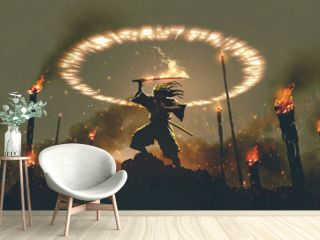 scene of samurai with fire sword standing on the rock, digital art style, illustration painting