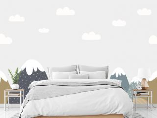 Seamless mountains and cloudy sky background in dusty colors. For nursery room wallpaper, decoration, web banners, poster, etc.