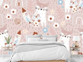 Seamless pattern with cute floral foxes, rainbows and hand drawn textures. Creative blooming texture on pale pink. Great for fabric, textile Vector Illustration