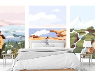 Man and woman relax outdoor at natural landscape vector flat illustration. Scenes with people walking alone, enjoy scenic nature views. Concept of freedom, relax and inspirational lifestyle