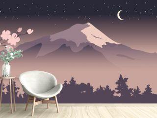 Abstract landscape with mount fuji / Vector illustration, narrow background, blooming sakura, starlight night, japanese landscape
