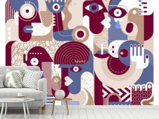 Group of people graphic artwork. Modern abstract fine art painting.