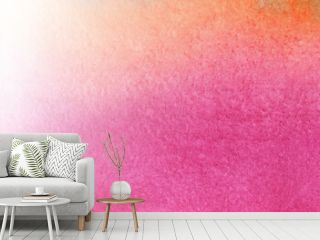 Abstract watercolor backdrop. Vertical gradation of color from crimson to orange and horizontal gradation of color intensity from pink to bright shades. Hand drawn illustration on textured paper
