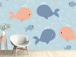 Seamless pattern with cute whales and heart shaped bubbles. It can be used for wallpapers, wrapping, cards, patterns for clothes and other.