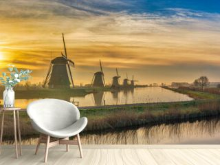 Rotterdam Netherlands, sunrise panorama nature landscape of Dutch Windmill at Kinderdijk Village