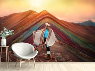 Full Length Of Woman Standing On Multi Colored Mountain During Sunset