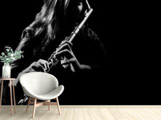 Flute player. Flutist playing music instrument