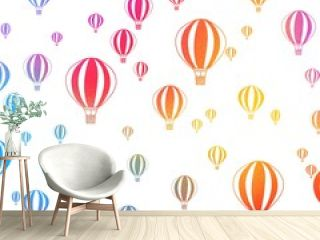 Balloons in the sky watercolor background  hand drawn wallpaper