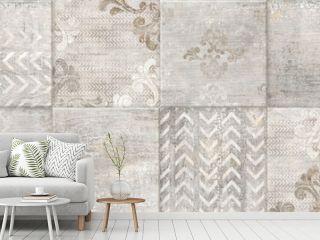retro mosaic background, vintage wallpaper design, damask pattern