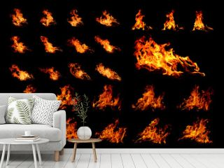 Fire flames on black background. Image of blaze fire flame texture and burning fire for decorative special effect .