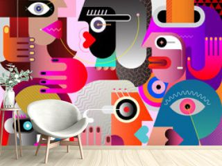 Large Group of Diverse People. Large group of various people abstract modern art graphic illustration. Portrait of six strange adult persons.