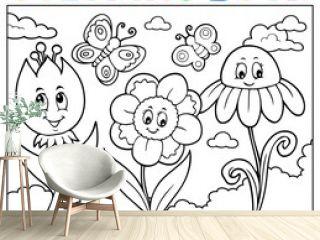 Coloring book happy cartoon flowers image 1