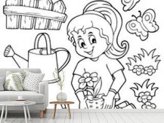 Coloring book girl gardener theme set 1