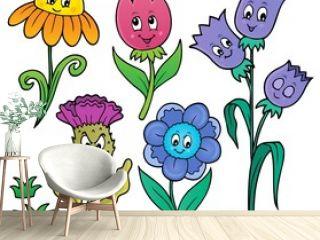 Happy cartoon flowers set 1