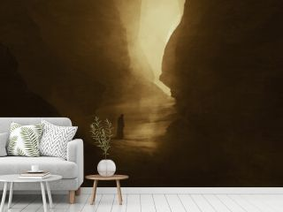 traveler in a dark canyon, surreal landscape