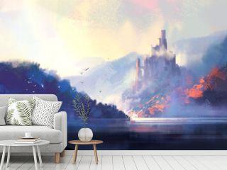 Fantasy style medieval castle, digital illustration.