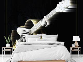 Music art. Electric guitar player guitarist playing