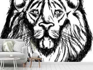 Lion's Head - Black and white logo in sketch style