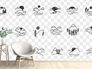 Natural landscapes views doodle set. Collection of hand drawn sceneries of mountains sunrise sunset natural landscapes drawn in minimal manner isolated on transparent background