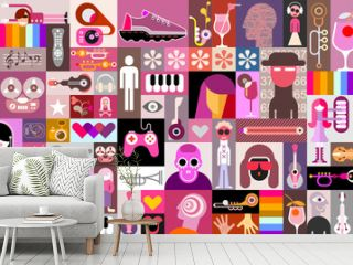 Pop art vector collage of characters, people avatars, different objects and abstract shapes.