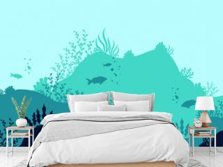 Oceanic deep world background. Dark underwater silhouettes swimming sea fish with blue outlines corals and vector plants.