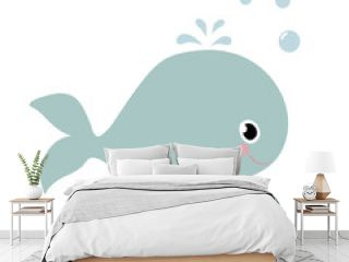 Cute cartoon whale isolated on white background.