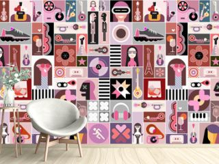 Pop Art Background. Pop art vector collage of  people avatars, different objects and abstract shapes.