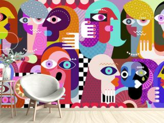 Large group of people. Modern art graphic illustration. People talking to each other. Digital painting.