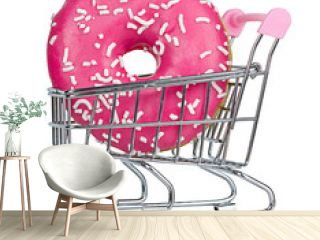 Pink donat in a shopping trolley isolated on white background
