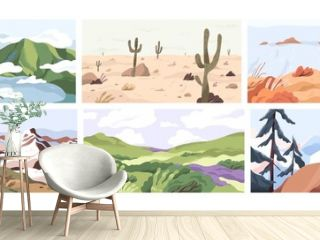 Set of empty landscapes and sceneries with snowy mountain tops, hills, field, lake, sea and desert. Collection of scenic nature views in spring, summer and autumn. Colored flat vector illustration