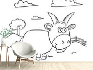 Cute Farm Goat Coloring Book Page Vector Illustration Art