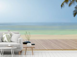 Spa accessories on wooden table and copy space with sea background, summer concept