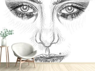 Woman face realistic sketch  art _ Beautiful woman portrait vector eps 10