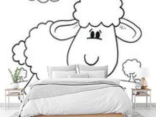 Cute Sheep Lamb Coloring Book Page Vector Illustration Art