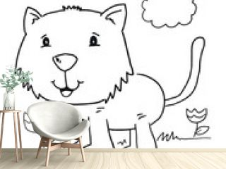 Cat Kitten Coloring Book Page Vector Illustration Art