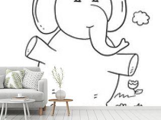 Cute Safari Elephant Coloring Book Page Vector Art