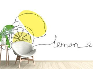Continuous one line drawing lemon. Vector illustration. Black line art on white background with colorful spots. Cartoon lemon isolated on white background.  Vegan concept
