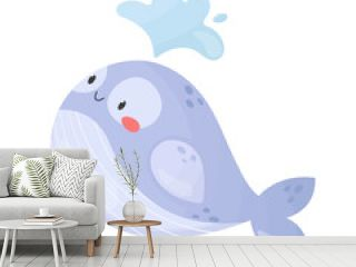 Cute smiling whale splashing water. Cartoon style vector illustration isolated on white background. Sea animal, underwater wildlife. Adorable character for kids, nursery, print
