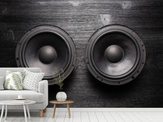 Car audio loudspeaker flat lay background.