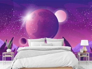 Space background with planet landscape and stars illustration