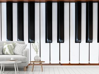 Piano keyboard. Flat top view. Horizontal photo